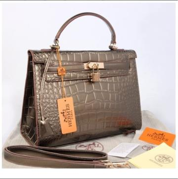 Hr Kelly 1310 Croco Embosed SemPrem(Silver Gray)~32x12x22