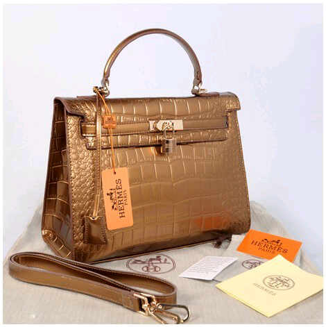Hr kelly 1310 Croco Embosed SemPrem (Bronze)~32x12x22