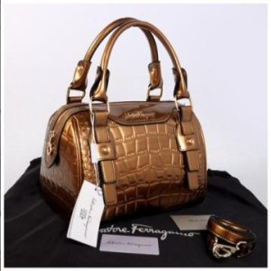 New Salvatore Ferragamo croco semi speedy semprem 3309(Bronze) ~ 28x18x18 idr@355rb