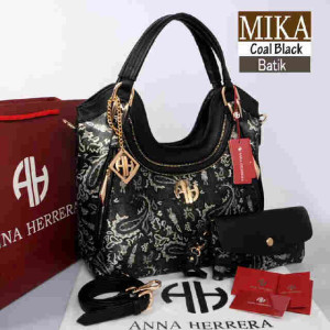 Bag Anna Herrera MIKA Batik set 710 uk~33x11x24 @350 Coal Black
