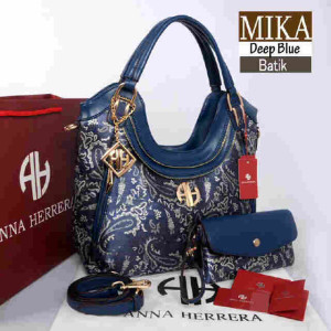 Bag Anna Herrera MIKA Batik set 710 uk~33x11x24 @350. Deep Blue