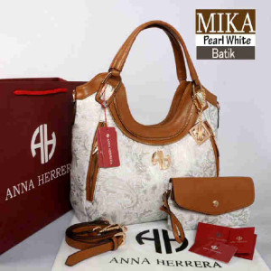 Bag Anna Herrera MIKA Batik set 710 uk~33x11x24 Pearl White