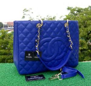 CH504(Blue) ~ 33x13x25 Chanel Grand Shopping Tote caviar kwalitas super