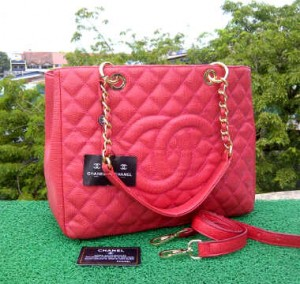 CH504(Bright Red) ~ 33x13x25 Chanel Grand Shopping Tote caviar kwalitas super