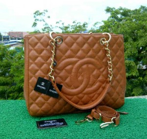 CH504(Coklat) ~ 33x13x25 Chanel Grand Shopping Tote caviar kwalitas super