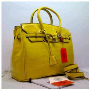 Hermes Birkin retsleting croco embosed glossy semprem 1409(Yellow) ~ 35x18x25