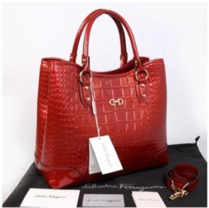 Hot promo Salvatore Ferragamo Maribel croco embossed semprem 1140S-1(Bright Red) ~ 34x15x28