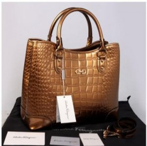 Hot promo Salvatore Ferragamo Maribel croco embossed semprem 1140S-1(Bronze) ~ 34x15x28