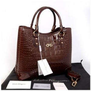 Hot promo Salvatore Ferragamo Maribel croco embossed semprem 1140S-1(Coffee) ~ 34x15x28