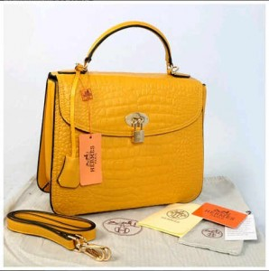 New Briefcase Hermes croco dove embossed semprem 1510(Yellow) ~ 30x12x23