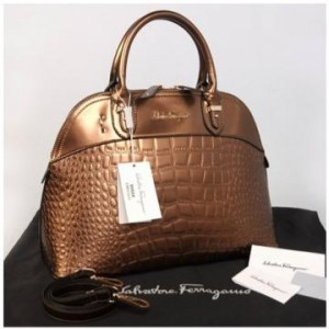 New Salvatore Ferragamo Alma croco embossed Semprem  9050(Bronze) ~ 38x16x28