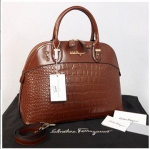New Salvatore Ferragamo Alma croco embossed Semprem  9050(Coffee) ~ 38x16x28