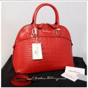 New Salvatore Ferragamo Alma croco embossed Semprem  9050(Red) ~ 38x16x28