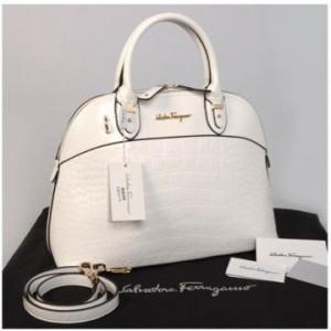 New Salvatore Ferragamo Alma croco embossed Semprem  9050(White) ~ 38x16x28