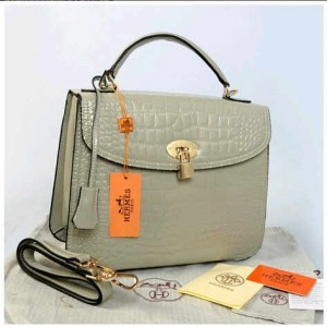 New Selempang Hermes croco glossi embossed semprem 1510-1(Grey) ~ 30x12x23