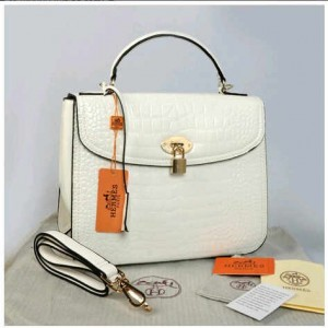 New Selempang Hermes croco glossi embossed semprem 1510-1(White) ~ 30x12x23