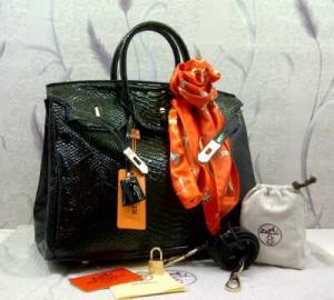 1410G(Black) ~ 35x18x25 Hermes birkin snake embossed glossy kwalitas semprem