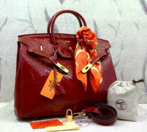 1410G(Red) ~ 35x18x25 Hermes birkin snake embossed glossy kwalitas semprem