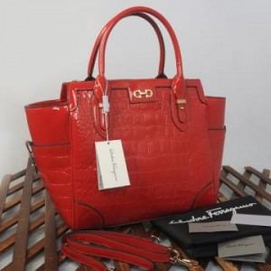 9438(Bright Red) ~ 32x13x30 New Salvatore Ferragamo croco embossed glossy semprem