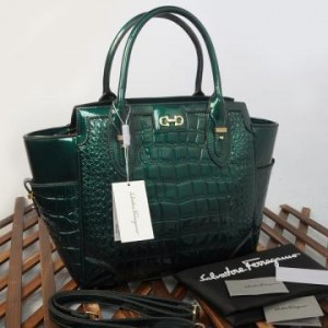 9438(Green) ~ 32x13x30 New Salvatore Ferragamo croco embossed glossy semprem