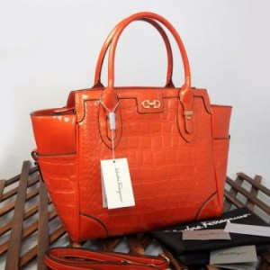 9438(Orange) ~ 32x13x30 New Salvatore Ferragamo croco embossed glossy semprem