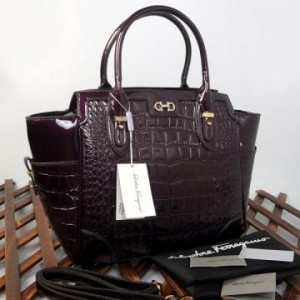 9438(Purple) ~ 32x13x30 New Salvatore Ferragamo croco embossed glossy semprem