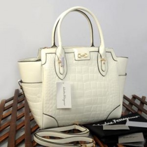 9438(White) ~ 32x13x30 New Salvatore Ferragamo croco embossed glossy semprem