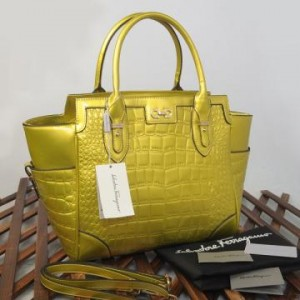 9438(Yellow) ~ 32x13x30 New Salvatore Ferragamo croco embossed glossy semprem