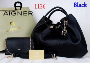 Bag Aigner 1136 uk~15x38x25 Black