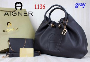 Bag Aigner 1136 uk~15x38x25. Gray