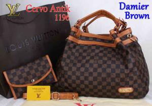 Bag Lv Cervo Antik 1196 Super uk~39x18x30. Damier Brown