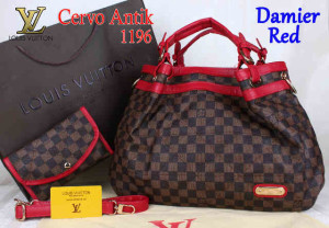 Bag Lv Cervo Antik 1196 Super uk~39x18x30. Damier Red