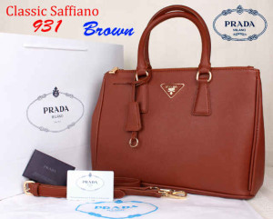 Bag Prada Classic Saffiano 931 Super uk~35x15x25 Brown