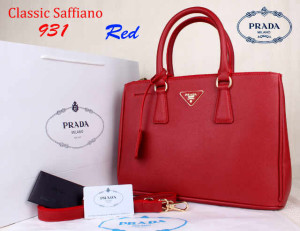 Bag Prada Classic Saffiano 931 Super uk~35x15x25Red
