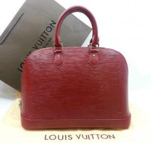 M5289Nnq(Red-silver hardware) ~ 32x12x22 Louis Vuitton alma ephi leather kwalitas premium