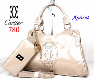Bag Cartier 708 kulit kilat set uk~40x10x27. @285rb~Apricot