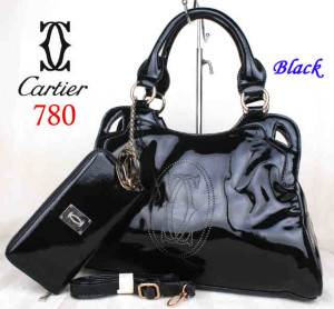 Bag Cartier 708 kulit kilat set uk~40x10x27. ~Black