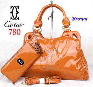 Bag Cartier 708 kulit kilat set uk~40x10x27. ~Brown