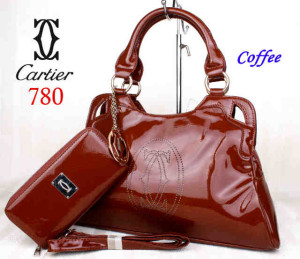 Bag Cartier 708 kulit kilat set uk~40x10x27. ~Coffee