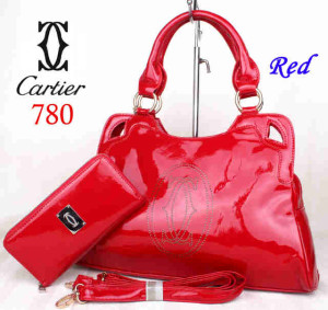 Bag Cartier 708 kulit kilat set uk~40x10x27. ~Red