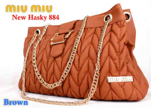 Bag Miumiu New Hasky 884 uk~34x16x20. ~Brown
