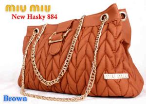 Bag Miumiu New Hasky 884 uk~34x16x20. ~Brown