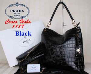 Bag Prada Croco Hobo 1187 Super uk~38x13x35. @320~~Black