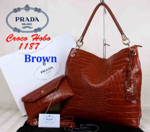 Bag Prada Croco Hobo 1187 Super uk~38x13x35. ~Brown