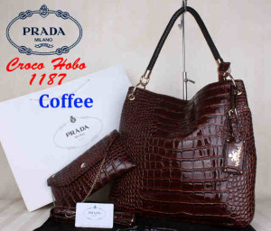 Bag Prada Croco Hobo 1187 Super uk~38x13x35. ~Coffee