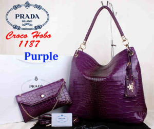 Bag Prada Croco Hobo 1187 Super uk~38x13x35. ~Purple(1)