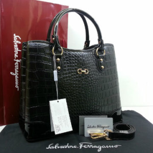 Idr 310rb @SF1140s(Black & Black) ~ 34x15x28 New Salvatore Ferragamo maribel croco embossed semprem 2tone