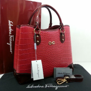 Idr 310rb @SF1140s(Bright Red & Bright Red) ~ 34x15x28 New Salvatore Ferragamo maribel croco embossed semprem 2tone