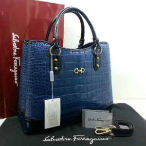 Idr 310rb @SF1140s(D Blue & D Blue) ~ 34x15x28 New Salvatore Ferragamo maribel croco embossed semprem 2tone