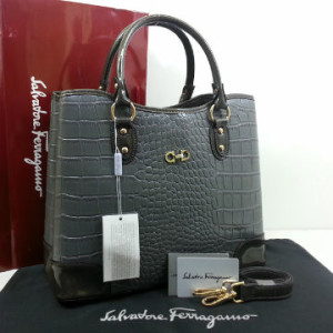 Idr 310rb @SF1140s(D Gray & Gray) ~ 34x15x28 New Salvatore Ferragamo maribel croco embossed semprem 2tone